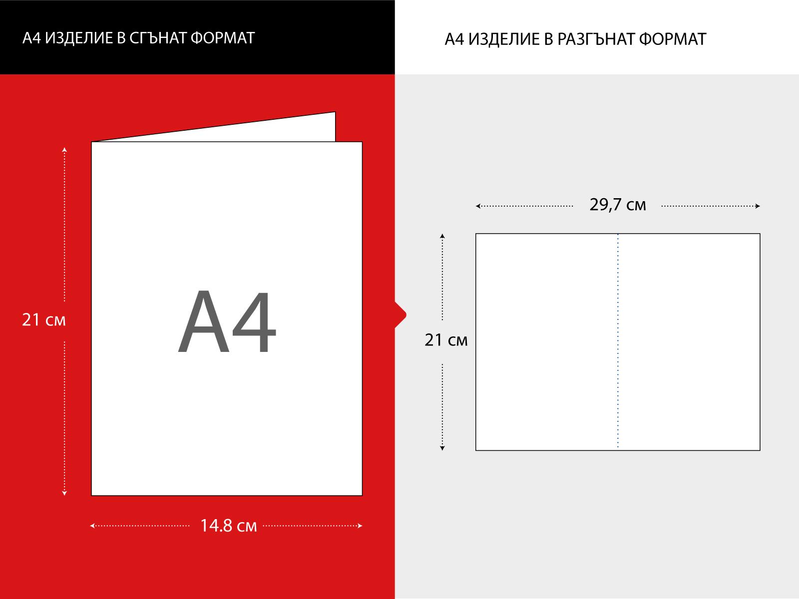 A4 лист размер на отпечатаното изделие